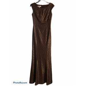 Kay Unger Brown and Gold Gown